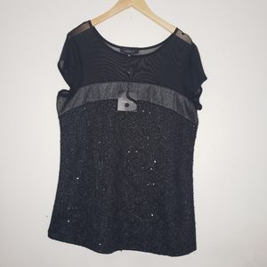 Michel Studio Collection Mesh Sequence Top Size 1X